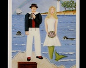 "5"" x 7"" Folk Art Greeting Card, ""Sailing Into Happiness"", sailor and his mermaid wife."