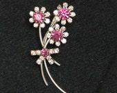 Vintage Purple and Rhinestone Large Flower Pin/Brooch