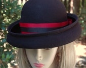 Vintage Womans Black Wool Bowler Hat With Red and Black Ribbon