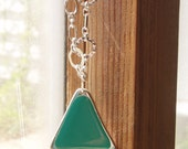 Chunky turquoise and silver triangle pendant and geometric chain