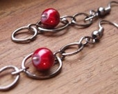 Cranberry Red Holiday Dangle Earrings featuring oxidized silver hoops