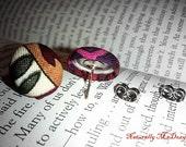 Fabric Button Earrings- Free Shipping