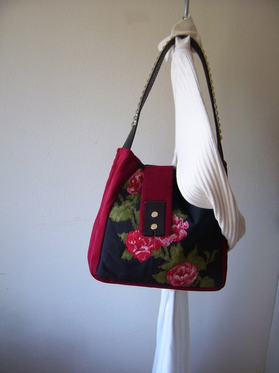 Medium Bag Again Repurposed Floral Pillowcase Quilted, Belt and Corduroy Purse Tote
