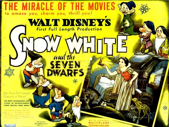 Disney Movie Posters: Items Similar To Snow White And The Seven Dwarfs Walt