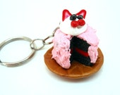 Keychain Kawaii Kitty Cake