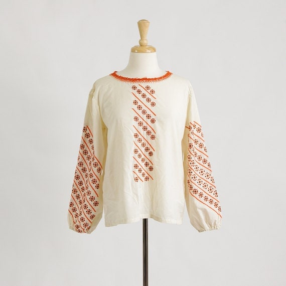 Vintage 70s Boho Top - Embroidered Blouse Hippie Tunic - S / M / L / XL