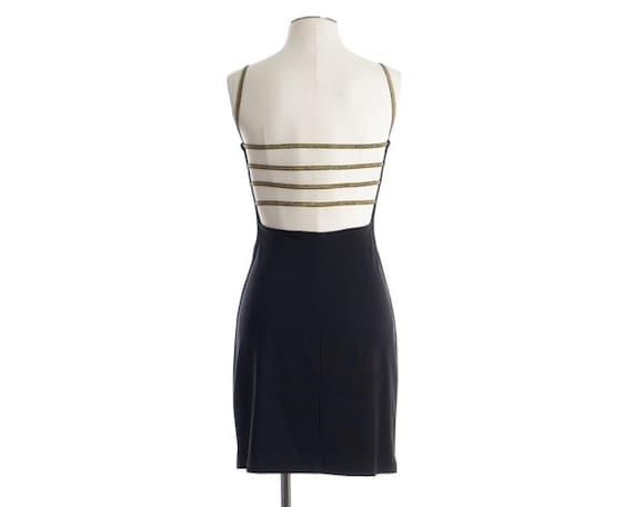 Vintage 80s 90s Dress - Cage Back Mini Bandage Dress - XS / S