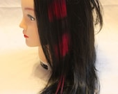 Hot Pink and Black Clip In Hair Extension 100% Human Hair