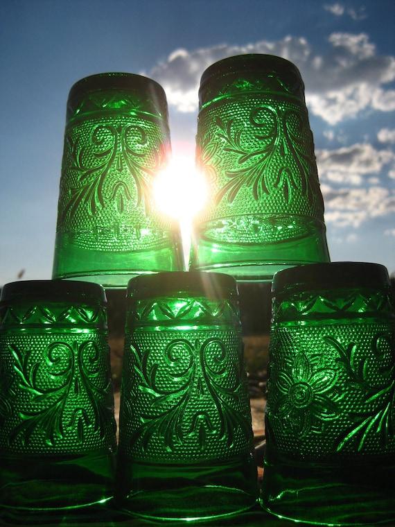 Sale Vintage Anchor Hocking Forest Green 5 oz. juice glasses-Set of 6- So Pretty-