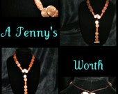 penny jewelry, copper, unique, necklace, large, beads, afrocentric - A PENNY'S WORTH