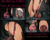 The Blackberry Cobbler Set - Slouchy Hat & Earrings (Made-to-Order)