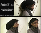 THE INTELLECT - long crochet slouch tam, dreadlock hat, black, brim, rasta, loc cap -Made to Order