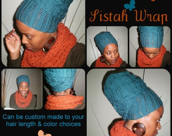 The Souriyah Sistah Wrap (How-To video link included) - crochet african head wrap - MADE TO ORDER