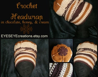 The Urban Turban Crocheted Head-wrap - MADE TO ORDER - Wrapping Tutorial also provided (Link is Below)