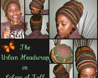 Urban Turban Crocheted Head-wrap - MADE TO ORDER - Wrapping Tutorial also provided (Link is Below)