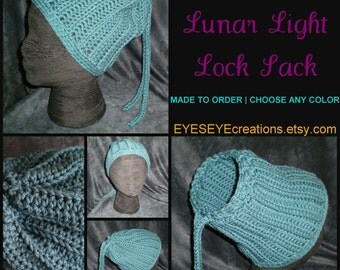 loc sac, any color, drawstring, dreadlock hat holder, custom made, rasta, cap - The LUNAR LIGHT Lock Sack