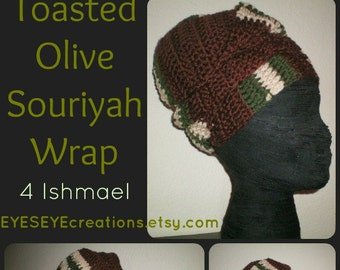 The Souriyah Wrap in Toasted Olive - crochet headwrap