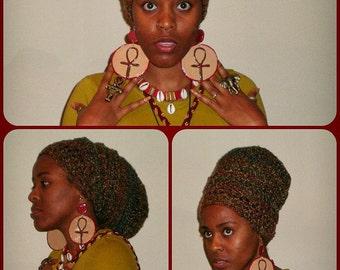 PRAIRIE MEDLEY URBAN Wrap (crochet headwrap tam dreadlock african regal rasta bohemian - How-to Wrap video link included below)