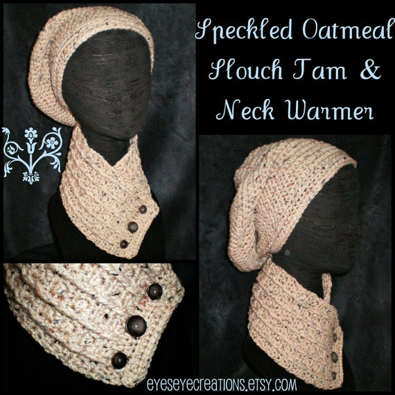 Speckled Oatmeal Crochet Dreadlock Tam & Neck Warmer (Slouch Hat and Cowl Scarf Set w/buttons)