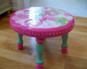 Pink Green Princess Stool Little Girls Room Time Out Seat Bench