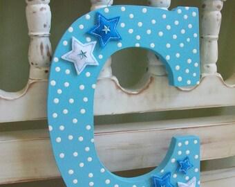 Baby Boy Letter C Wall Decor Nursery Initial Alphabet Blue Stars Monogram
