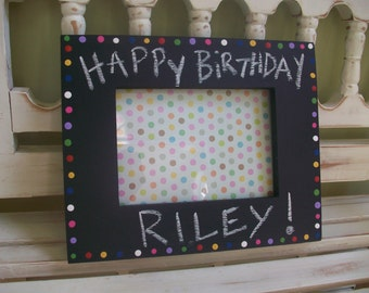 Happy Birthday Chalk Board Frame Festive Housewarming Gift 5x7 Photo You Design