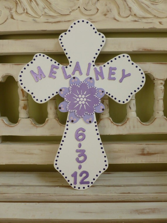 Floral Wall Cross Gift New Baby Girl Child Christening Baptism Gift Spiritual Custom Personalized First Communion Confirmation Purple