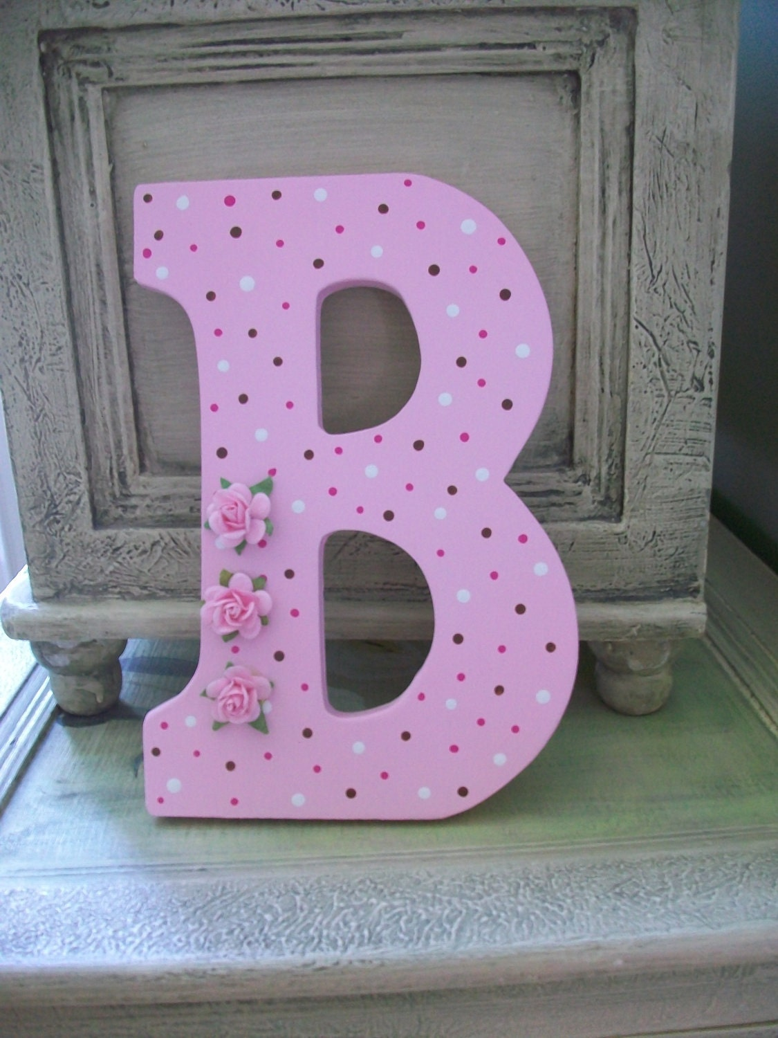 The Letter B Wall Decor : Baby girl pink shabby chic letter b wall decor by dippitydaisy