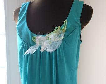 Romantic Island Hopping Tunic Dress Boho Chic Sea Green Shabby Beach Fairy Woodland Gown Teal Turquoise Top