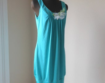Romantic Island Hopping Dress, Sea Green Shabby Tunic Top