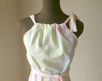 Pink Lemonade Sundress Cotton Pastel Upcycled Weekend Bohemian Recycled Picnic Dress Boho Garden Casual Art Wear Top One of a Kind  Handmade