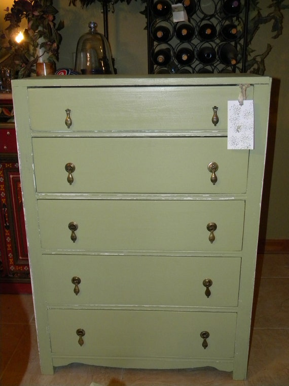 Vintage Spring Green Dresser with Shabby Finish ON HOLD