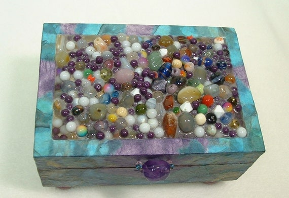 Jewelry Box / Trinket Box / Keepsake Box / Amethyst Handle Beaded Top Purple and Turquoise Handmade Papers