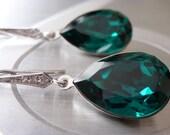 Emerald Earrings Swarovski Crystal Green Emerald Earrings Angelina Jolie earrings Inspired Bridesmaid gift