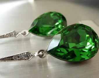 Green Earrings Swarovski Crystal Fern green Earrings Bridal Earrings Teardrop Earrings Bridesmaid Gift Wedding Jewelry