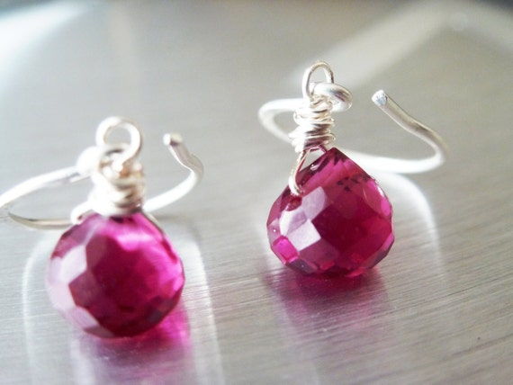 Pink Earrings Ruby Quartz Fuchsia  - Hot Pink Earrings Faceted - Pink Ruby Wire Wrapped Briolettes - Sterling Silver Earwires