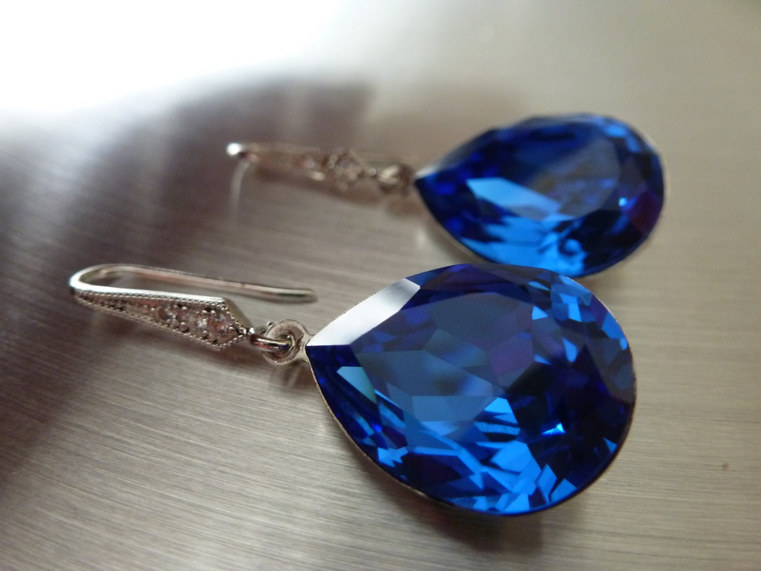 Blue Sapphire Earrings Crystal Teardrop Swarovski Blue