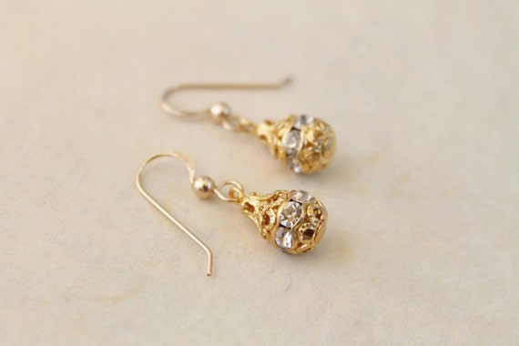 Gold drop earrings - clear crystals in gold setting - delicate dangle earring - classic minimal jewelry