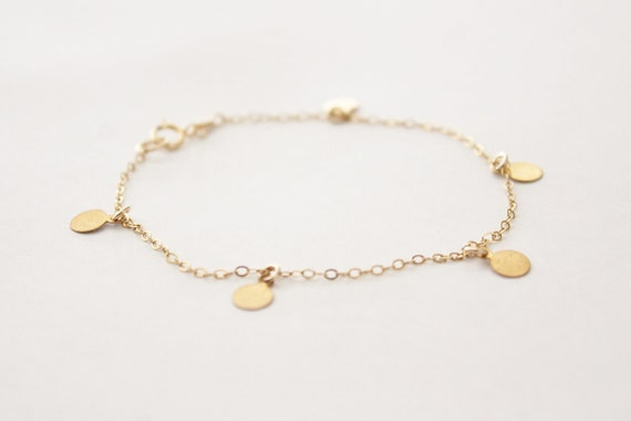 Delicate gold bracelet with tiny brass discs - round circle coin - dainty gold filled chain - modern minimalist