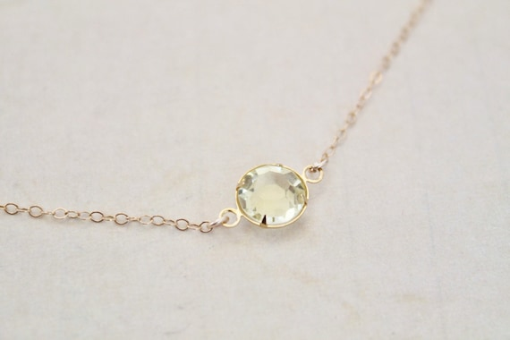 Large Crystal Minimalist Necklace - Clear Jonquil Yellow Channel Crystal - Choker - Delicate Gold Chain