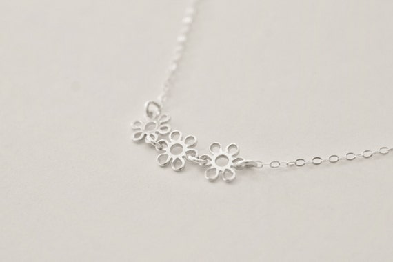 Bloom - sterling silver flower necklace - three daisy blossom discs - delicate chain - modern minimalist simple dainty