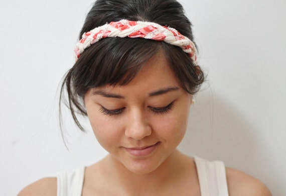 Braided headband - pink beige lace fabric - thick five strand braid - bohemian chic - hair band accessories