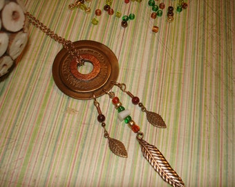 Tribal style copper and brasswork necklace.