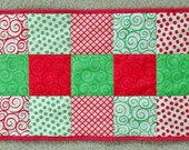 Festive Green and Red Christmas Table Runner