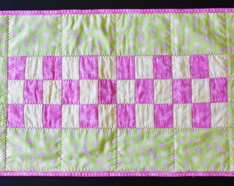 Raspberry Pink, Lime Green, and Yellow Floral Checkerboard Table Runner