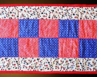 Americana Red, White, & Blue Star Checkerboard Table Runner