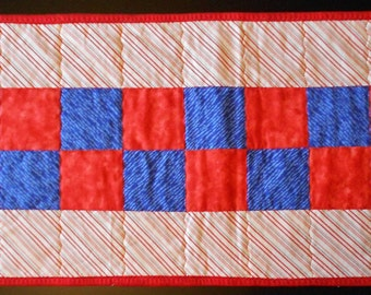 Americana Red, White, & Blue Diagonal Striped Checkerboard Table Runner