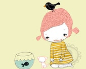 Girl with pets in pink
