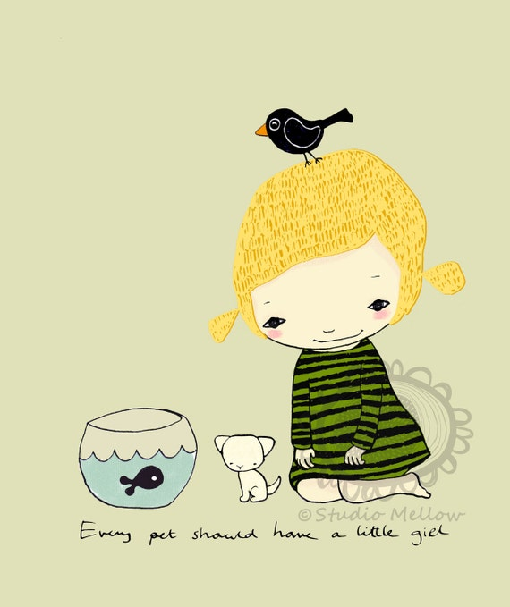 Girl with pets in color