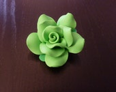 Green Rose Polymer Clay Brooch / Pin - handmade - matte , flower . spring time